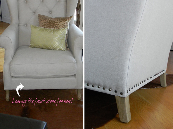 Wing Back Chair with Decorative Nail Heads