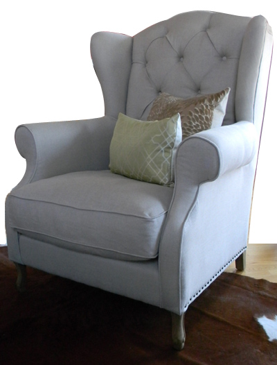 Linen Wing Chair with Nail Heads