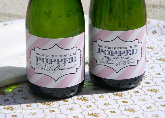 personalized bridesmaid wine label