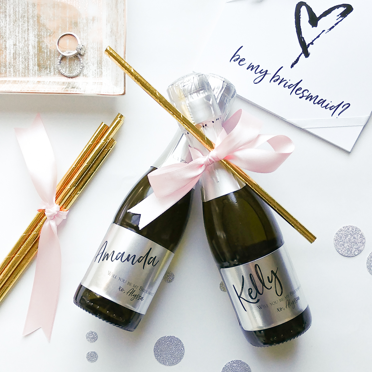 Will You Be My Bridesmaid Silver MetallicCustom Bottle Labels ...
