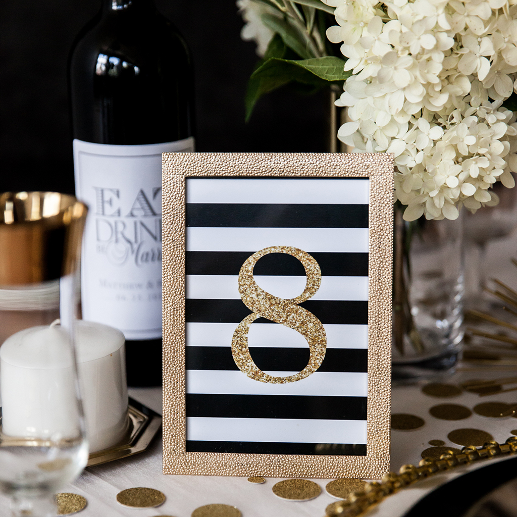 Faux Gold Glitter Black Stripe Table Numbers