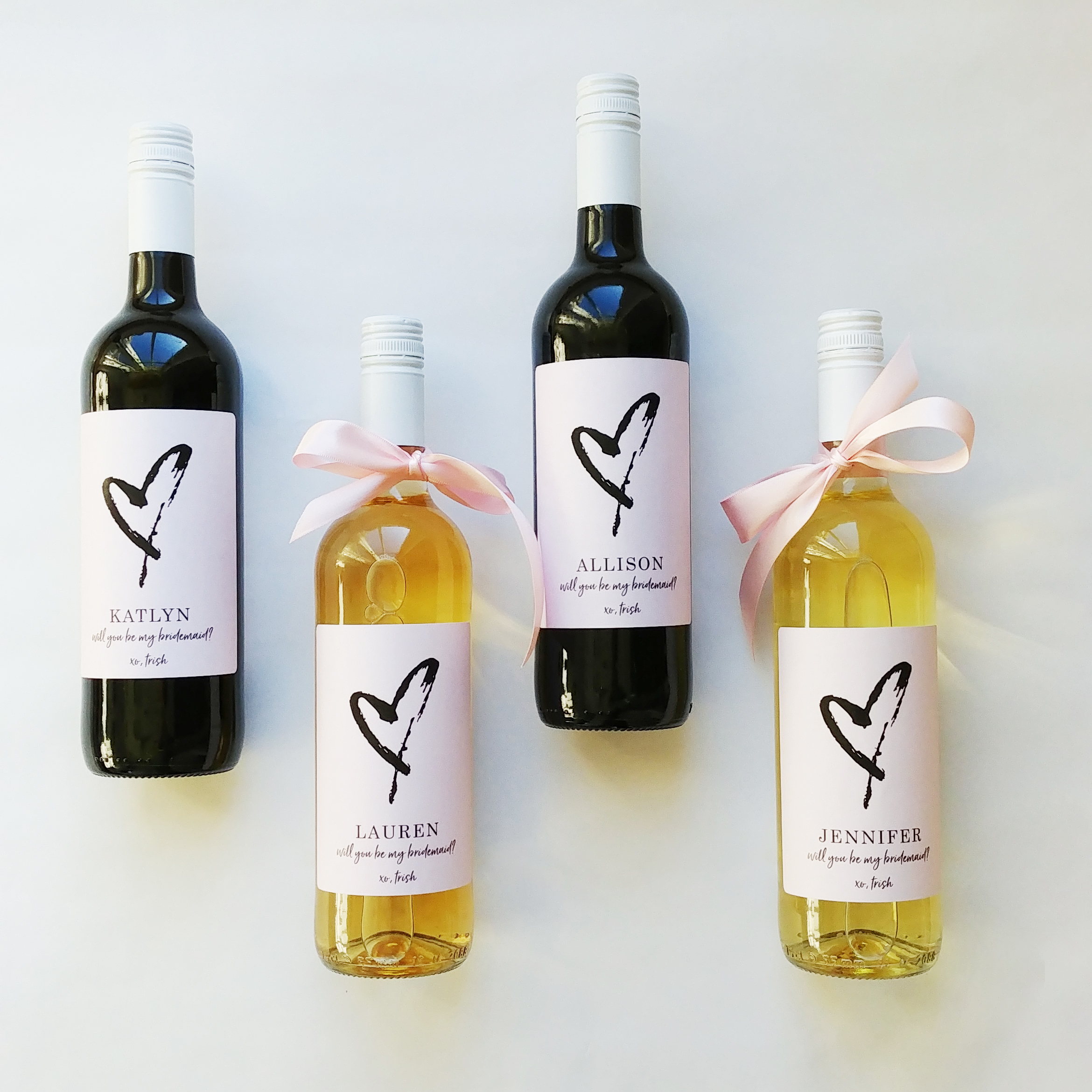 custom bridesmaid bottle label