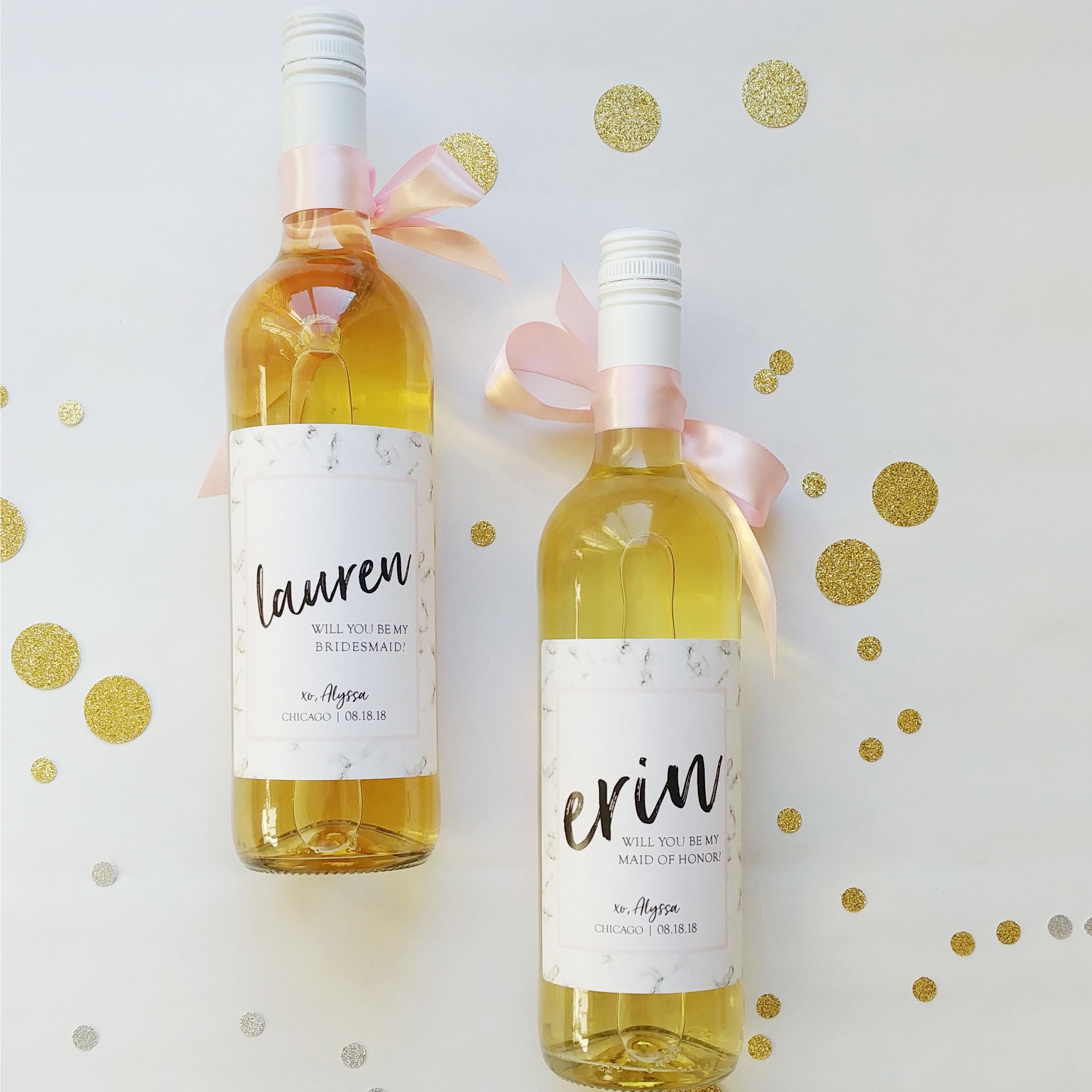 custom bridesmaid bottle label