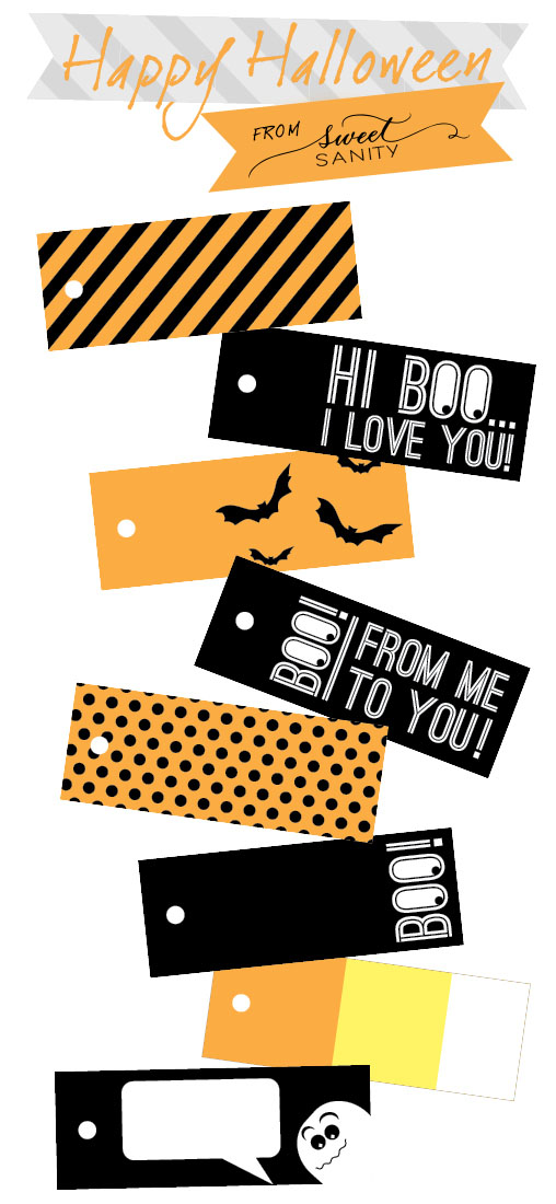 photograph regarding Free Printable Halloween Labels named Lovable Sanity Halloween Tags: No cost Printable!